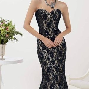 Dresses & Skirts - Black Lace Evening Gown NWOT... Prom